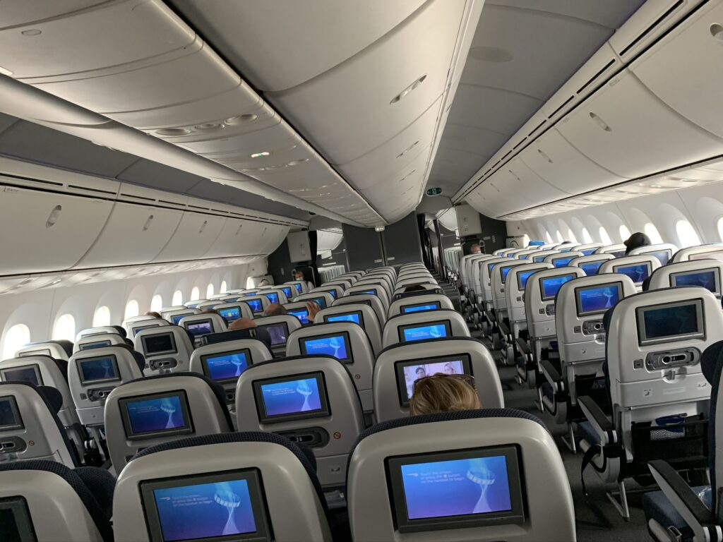 An empty airplane, HEL to LAX in August 2020